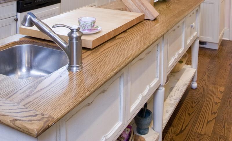 Wainscot paneling on a kitchen island